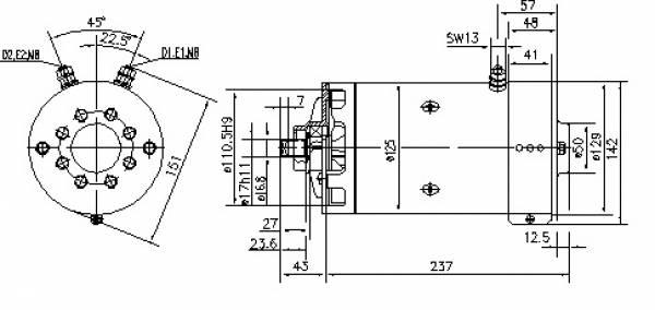 Gleichstrommotor Mahle MM227 IM0046 OIL SISTEM, 3.0kW 24V